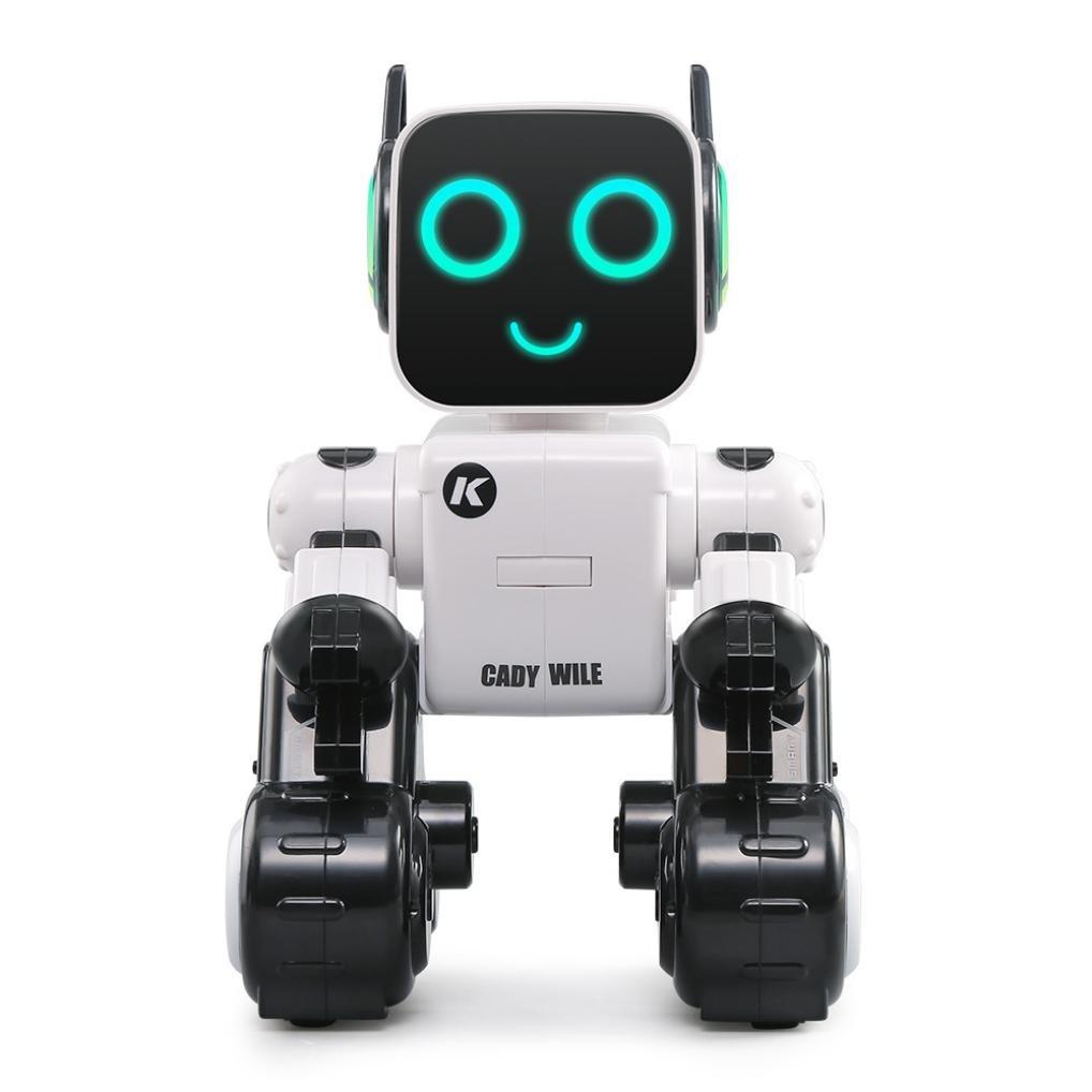 SANNYSIS JJRC R4 Cady Wile RC Robot 2.4G Kids Money Management Sound Interaction Gesture Sensor Control RC Robots Gift Toy (White)