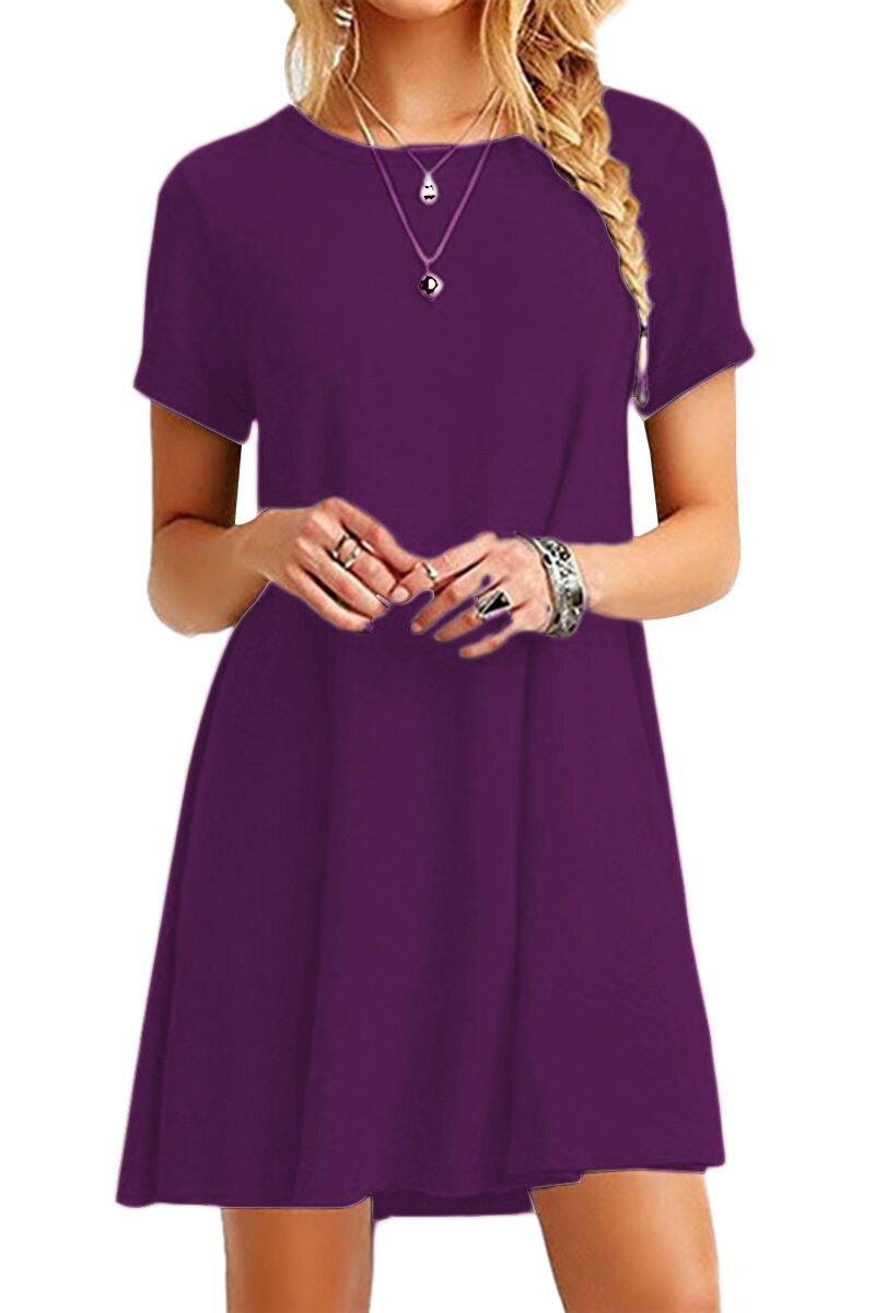 YMING Women Summer Casual Short Sleeve Dress Tea Shirt Mini Dress Dark Purple 3XL