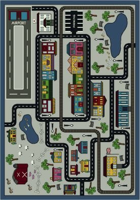 Joy Carpets Kid Essentials Active Play & Juvenile Tiny Town Rug, Pewter, 5'4'' x 7'8'' by Joy Carpets