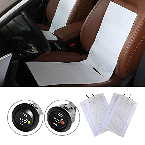 2 Seats Universal Heated Seat Heater 12V Pads 3 Setting HI-OFF-LO Round Switches (Toyota Seat Heater)
