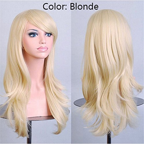 SNOILITE Women 23Inch Halloween Wig Synthetic Hair Long Curly Cosplay Wigs Purple Natural Black Pink Red White Orange Blonde Brown -