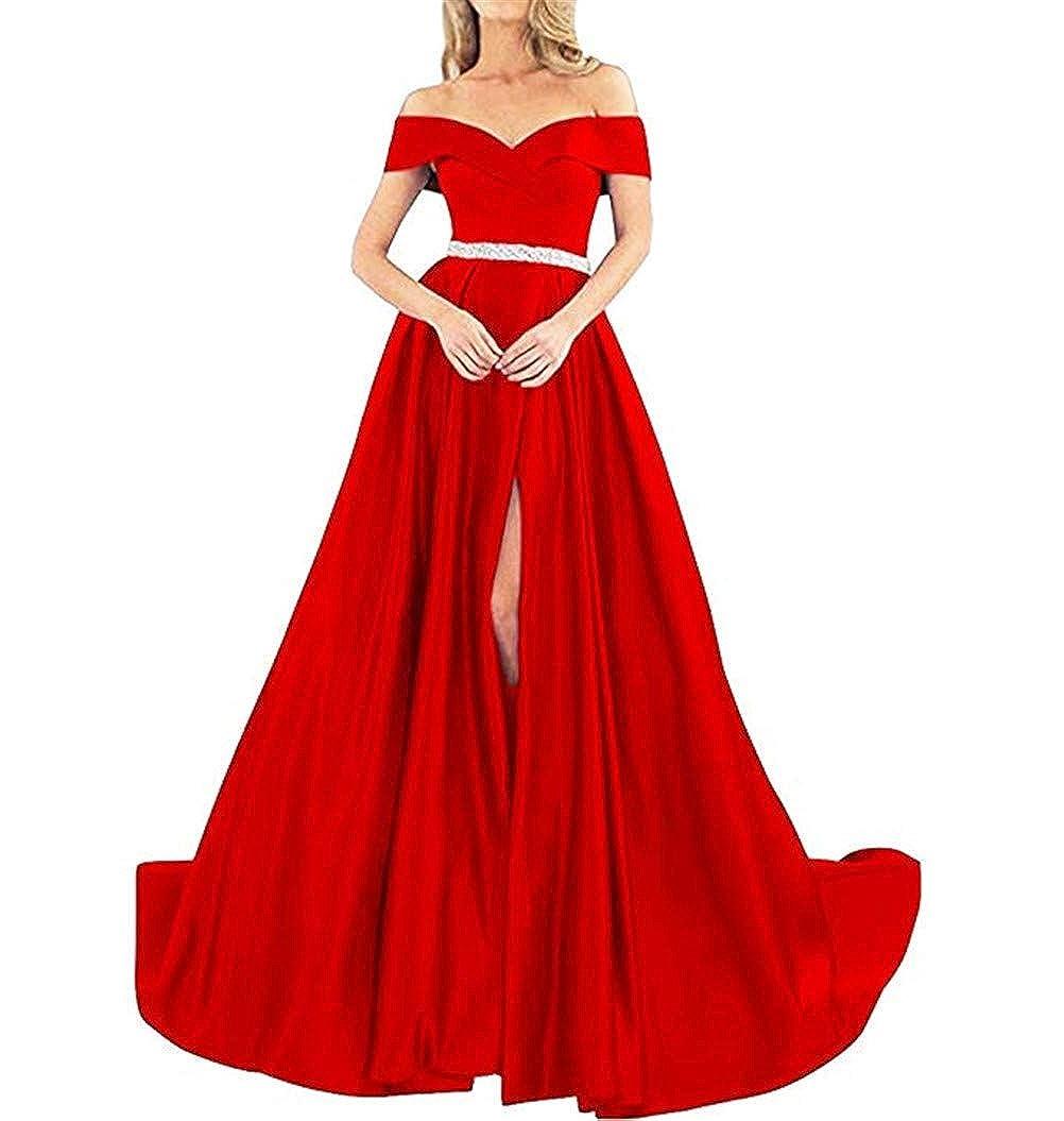 Red Homdor Off Shoulder Prom Dresses Long ALine Beaded Satin Ball Gowns for Women Formal