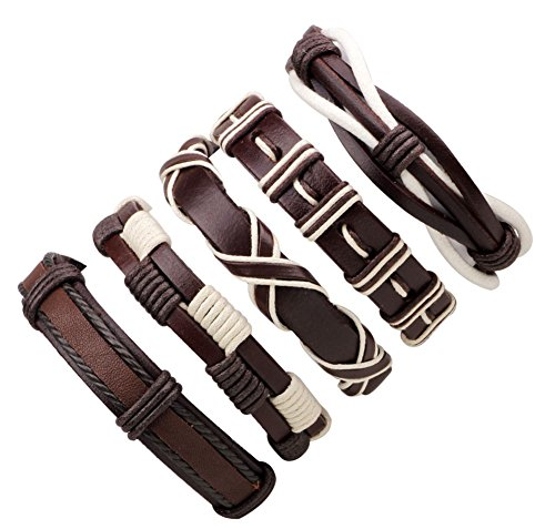 (JF.JEWELRY 5-PCS Mixed Stackable Braided Leather Cuff Bracelet for Men with Brown Leather & White Hemp)