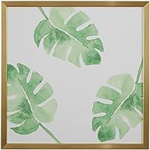 "Rivet Watercolor Green Leaf Print in a Gold Wood Frame, 12"" x 12"""