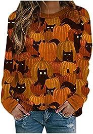 Balakie Womens Halloween Pumpkin Sweatshirts Crewneck Casual Long Sleeve Loose Holiday Pullover Tops