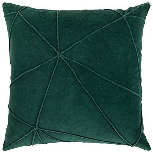 Rivet Modern Velvet Lines Throw Pillow – 18 x 18 Inch, Botanical Green