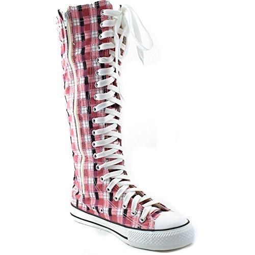 Stivale Alto Al Ginocchio Donna Alto Classico Stivale Alto In Tela Pizzo Alto Stile Punk Flat Sneaker Rosa Stivaletto