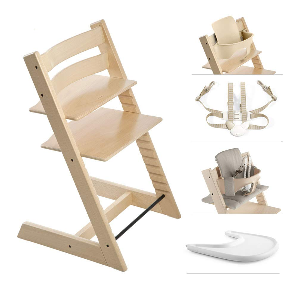 Stokke 2019 Tripp Trapp High Chair Complete Bundle, Natural with Timeless Grey Cushion and White Tray by Stokke