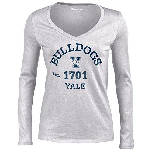 (Champion NCAA Yale Bulldogs Women's University Long Sleeve V-Neck Gray T-Shirtuniversity Tee, Oxford Heather, Small)