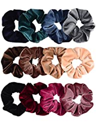 Whaline 12 Pieces Hair Scrunchies Velvet Elastics Scrunchy Bobbles Soft Hair Bands Hair Ties (12 Colors)