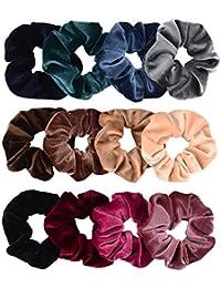 12 Pack Hair Scrunchies Premium Velvet Scrunchy Elastic Hair Bands for Girls, Women Hair Accessories (12 Colors)