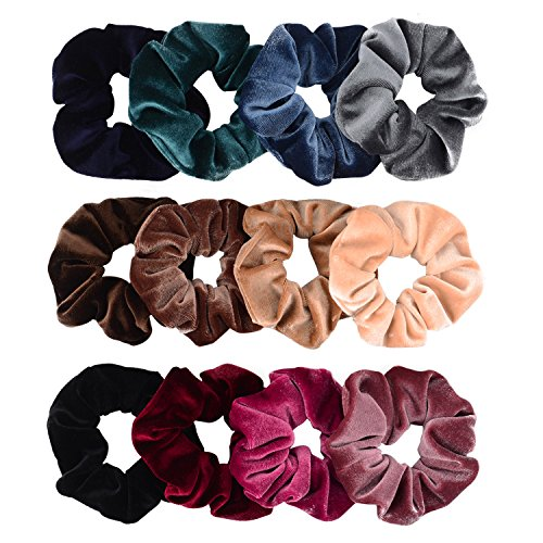 Whaline 12 Pieces Hair Scrunchies Velvet Elastics Scrunchy Bobbles Soft Hair Bands Hair Ties (12 Colors)
