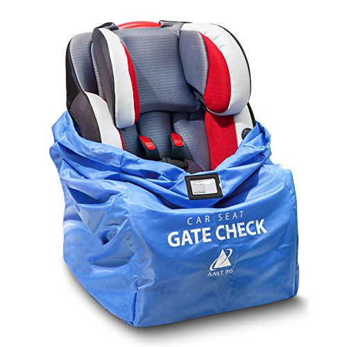 - Car Seat Travel Bag – Durable, Water-Resistant Gate Check Bag with Adjustable Straps – Protector Traveling Bag Cover Carrier Must-Have Baby Travel Accessories for Airplanes and Trains by AMT Pro Blue