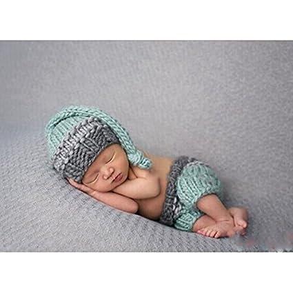nuolux Baby fotografía Requisiten, recién nacido bebé ganchillo gorro de lana de pantalones