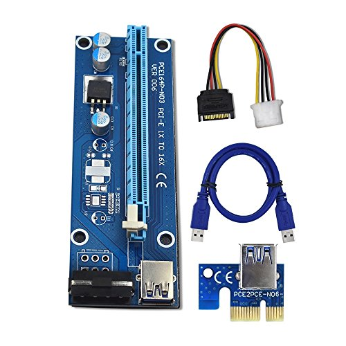 YiFeng 1-Pack PCI-E PCI Express VER 006 1x to 16x Powered Riser Adapter Card w/ 60cm USB 3.0 Extension Cable & 4-Pin MOLEX to SATA Power Cable GPU Riser Adapter - Pin 3 Cable Molex Extension