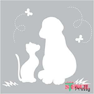 Cat & Dog Friends On A Summer Butterfly Day Best Vinyl Large Stencils for Painting on Wood, Canvas, Wall, etc.-XS (6.75