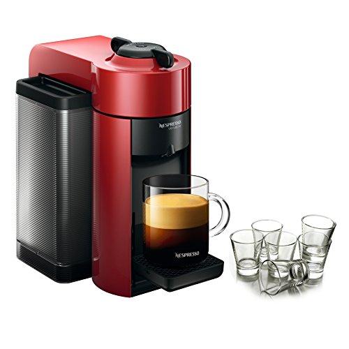 Best of Nespresso VertuoLine Evoluo Cherry Red Coffee and Espresso Maker with Free Set of 6 Espresso Glasses