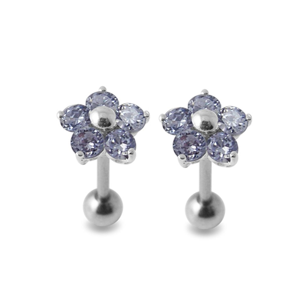 Lavender Gems Stone Fancy Flowers 925 Sterling Silver Ear Piercing jewelry with 16Gx5/16(1.2x8MM) 316L Surgical Steel Barbell and 4MM Ball. Sold by Pair
