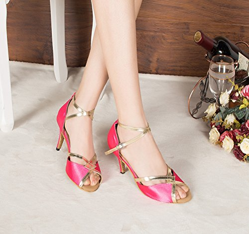 Minishion Womens New Satin Latin Dance Shoes Evening Shoes Pink NhvFTh