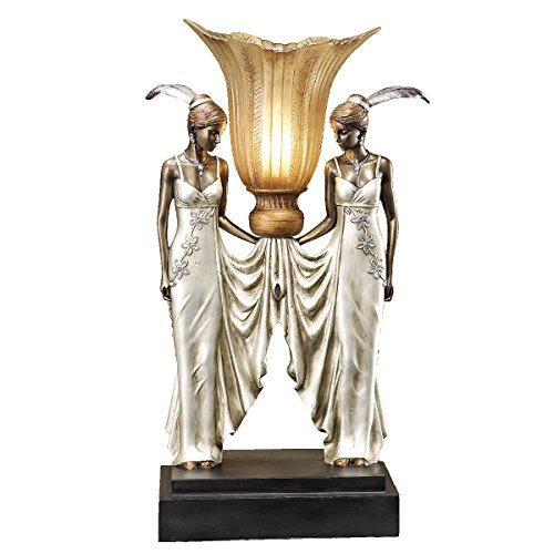 Design Toscano PD331 Art Deco Peacock Maidens Sculptural Table Lamp, 20 Inch, Bronze and Pearl - Deco Torchiere Art
