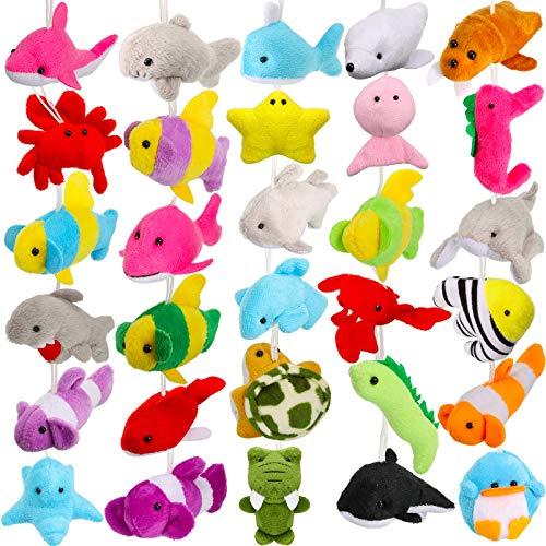 30 Pieces Mini Sea Creatures Stuffed Toys Ocean Animal Plush Toys Cute Keychain Decorations for Christmas Tree Bag…