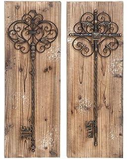 Deco 79 Enchanting Key Door Wall Plaque, Aged Wood