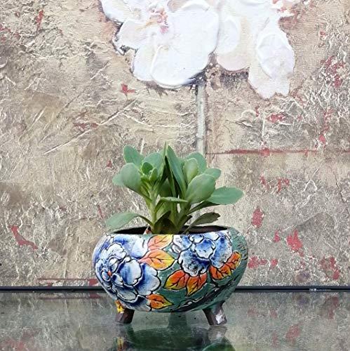 Hand Carved & Painted Ceramic Plant Pot with Drainage   Flower Vase Home Decor   Succulent Cactus Herb Planter 7