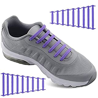 No Tie Shoelaces for Men and Women - Best in Sports Fan Shoelaces â Waterproof Silicon Flat Elastic Athletic Running Shoe Laces with Purple for Sneaker Boots Board Shoes and Casual (Purple)