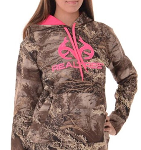 realtree-womens-hoodie-pink-brown-pullover-hunting-pocket-spellout-banded-waist-xtra-large