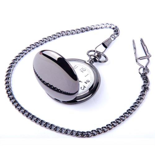 ShoppeWatch Pocket Watch Quartz Movement Black Case White Dial Arabic Numeral with Chain Full Hunter PW23