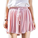 S-Fire Casual Shorts Women Loose High Waist Summer Short Female Big Size Chiffon Pleated Short,Pink,L