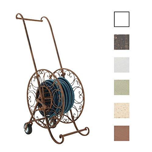 CLP Nostalgie Schlauchwagen BALKO aus stabilem Eisenrohr, mit Standfuß, für bis zu 50 m Schlauch, aus bis zu 6 Farben wählen antik-braun