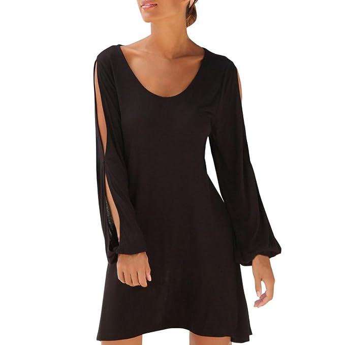269af72a8 Vestido corto sexy mujer baratos Mini vestido de playa Moda Vestido casual  de manga larga con cuello en V para mujer Amlaiworld  Amazon.es  Ropa y ...