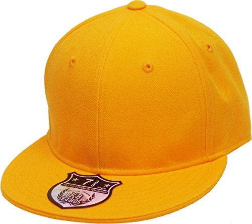 Original Fitted Cap Hat - KBETHOS KNW-2364 GLD (7 5/8) The Real Original Fitted Flat-Bill Hats True-Fit, 9 Sizes & 20 Colors Gold