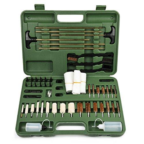 Gun Cleaning Kit Universal Supplies for Rifles Shotgun Handgun Muzzleloader Pistol Cleaning Kit for All Guns with Gun Brush Bore Mop Jag Portable Travel Case By iunio