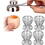Egg Shell Topper Cutter Remover Opener Craker Breaker Tool Gadget with Handle Stainless Steel with 4 Egg Tray Cup, Easy to Removing the Top of Raw Soft Hard Boiled Eggshell Smooth Round Opening