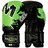 Maxx boxing gloves Rex leather 4oz - 16oz blk/green juniors - adults
