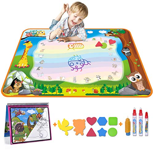 Meland Large Water Doodle Mat Aqua Doodle Mat 39.37 x 27.5 inch, with 4 Water Pens and 8 Molds and a Water Coloring Book, Kids Educational Travel Toy Gift for Boys Girls Toddlers, 7 Colors ()