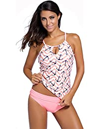 Women Banded Printed Tankini Top with Triangle Briefs...