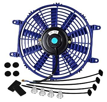 Red, 10 Inch AJP Distributors Universal High Performance 12V Electric Slim Radiator Push Pull Cooling Fan Mounting Kit
