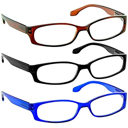 Reading Glasses 2.75 Black Brown Blue (3 Pack) F503 TruVision