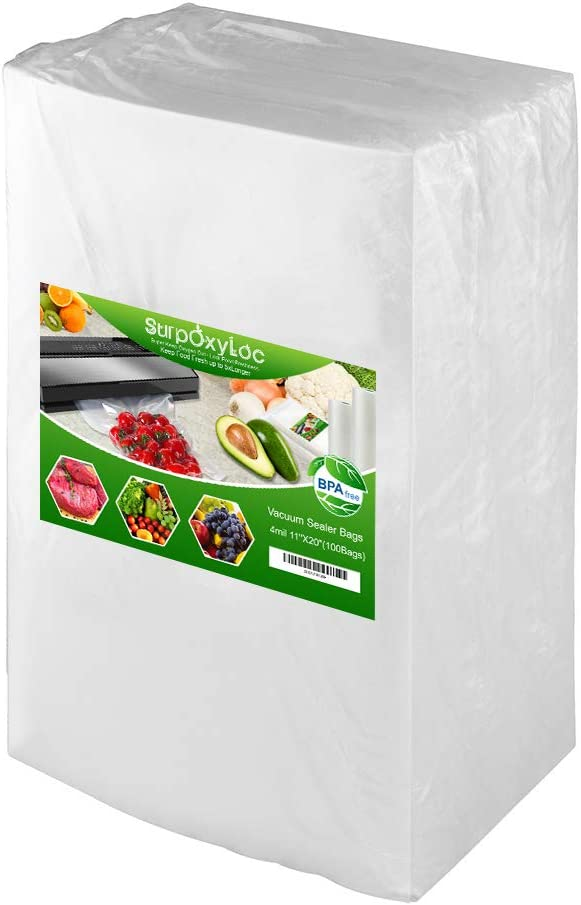 Premium!! SurpOxyLoc 4mil100 Plus Gallon Size11x20Inch Food Saver Vacuum Sealer Bags with BPA Free,Heavy Duty,Great for Sous Vide and Vac Seal storage