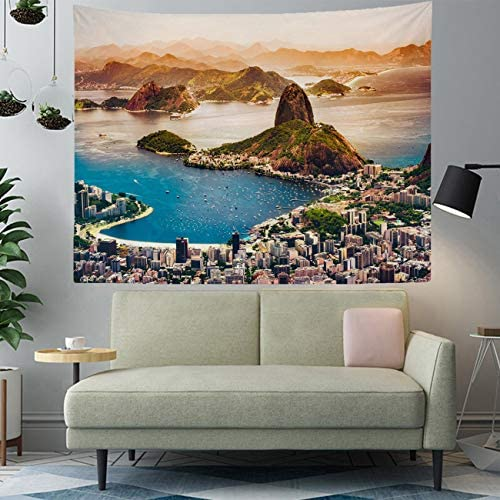 Popular Artistic Printed Polyester Fabric Tapestry-90x70in,Rio de Janeiro Brazil city coastline mountains sunrise buildings bay harbour Tapestry home decor for bedroom living room dorm apartment