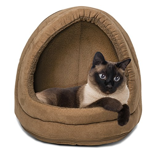 FurHaven Pet Hood Bed | Terry & Suede Hood Pet Bed for Dogs & Cats, Camel, ()