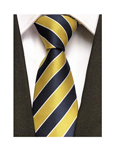 Secdtie Men's Classic Stripe Jacquard Woven Silk Tie Formal Party Suit Necktie (One Size, Yellow Navy)