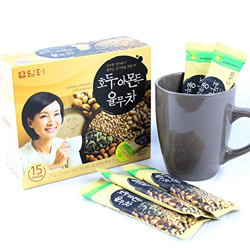 DAMTUH Walnut Almond Adlay Tea (Job's Tear), All Natural Tea Powder, 15 Sticks