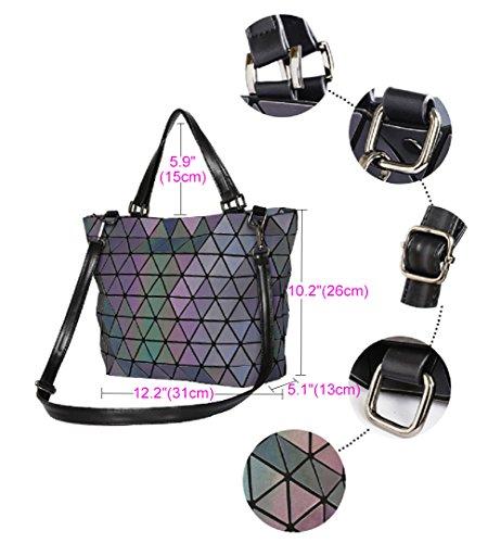 Women Geometric Luminous Backpack Handbag Fashion Shoulder Bag Lingge Flash  Travel Rucksack NO.3 1c225837c1