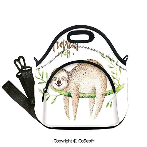 Portable lunch bag,Young Animal Sleeping on Palm Branch Happy Dreams Wildlife Nature Watercolor Decorative,with Detachable Adjustable Shoulder Strap(12.59x6.29x12.59 inch) Light Brown Green]()
