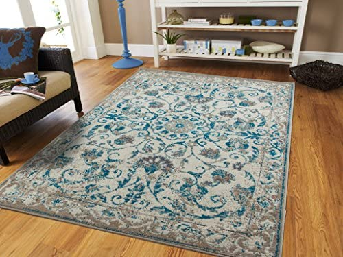 Traditional Vintage Area Rug Distressed Rug Teal Blue Gray Beige 8×11 Large Rugs for Living Room Cheap 8×10