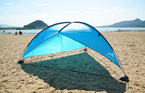 (Oileus Super Big Canopy Tent with Sand Bags - Easy up Beach Tent Sun Shelter and Lightweight Sun Shade Tarp for Camping Family Picnic, Waterproof and Windproof, Blue, 16 × 16Ft)